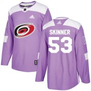 Wholesale Cheap Adidas Hurricanes #53 Jeff Skinner Purple Authentic Fights Cancer Stitched Youth NHL Jersey