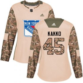 Wholesale Cheap Adidas Rangers #45 Kappo Kakko Camo Authentic 2017 Veterans Day Women\'s Stitched NHL Jersey