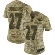 Wholesale Cheap Nike Ravens #27 J.K. Dobbins Camo Women's Stitched NFL Limited 2018 Salute To Service Jersey