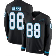 Wholesale Cheap Nike Panthers #88 Greg Olsen Black Team Color Men's Stitched NFL Limited Therma Long Sleeve Jersey