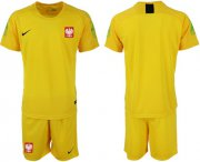 Wholesale Cheap Poland Blank Yellow Goalkeeper Soccer Country Jersey