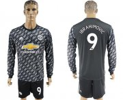 Wholesale Cheap Manchester United #9 Ibrahimovic Black Long Sleeves Soccer Club Jersey