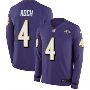 Wholesale Cheap Nike Ravens #4 Sam Koch Purple Team Color Men's Stitched NFL Limited Therma Long Sleeve Jersey