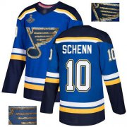 Wholesale Cheap Adidas Blues #10 Brayden Schenn Blue Home Authentic Fashion Gold Stanley Cup Champions Stitched NHL Jersey