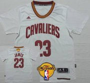 Wholesale Cheap Men's Cleveland Cavaliers #23 LeBron James Revolution 2015 The Finals New White Short-Sleeved Jersey
