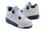 Wholesale Cheap Air Jordan 4 (IV) Kids Shoes White/blue