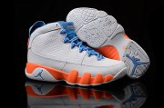 Wholesale Cheap Womens Air Jordan 9 fontay montana White/blue-orange
