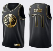 Wholesale Cheap Nike Mavericks #77 Luka Doncic Black Gold NBA Swingman Limited Edition Jersey