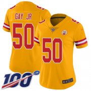 Wholesale Cheap Nike Chiefs #50 Willie Gay Jr. Gold Women's Stitched NFL Limited Inverted Legend 100th Season Jersey