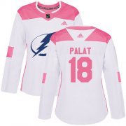 Cheap Adidas Lightning #18 Ondrej Palat White/Pink Authentic Fashion Women's Stitched NHL Jersey