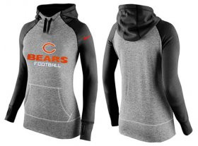 Wholesale Cheap Women\'s Nike Chicago Bears Performance Hoodie Grey & Black