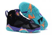 Wholesale Cheap Kids' Air Jordan 7 Retro Shoes Black/blue-yellow