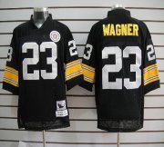 Wholesale Cheap Mitchell And Ness Steelers #23 Mike Wagner Black Stitched NFL Jersey