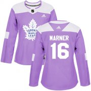Wholesale Cheap Adidas Maple Leafs #16 Mitchell Marner Purple Authentic Fights Cancer Women's Stitched NHL Jersey