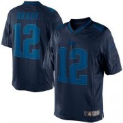 Wholesale Cheap Nike Patriots #12 Tom Brady Navy Blue Men's Stitched NFL Drenched Limited Jersey