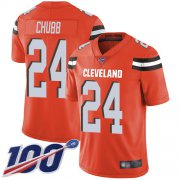 Wholesale Cheap Nike Browns #24 Nick Chubb Orange Alternate Men's Stitched NFL 100th Season Vapor Limited Jersey