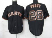 Wholesale Giants #28 Buster Posey Black Fashion Stitched Baseball Jersey