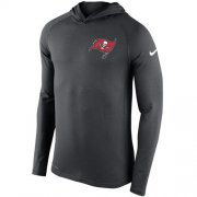 Wholesale Cheap Men's Tampa Bay Buccaneers Nike Charcoal Stadium Touch Hooded Performance Long Sleeve T-Shirt