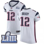 Wholesale Cheap Nike Patriots #12 Tom Brady White Super Bowl LIII Bound Men's Stitched NFL Vapor Untouchable Elite Jersey