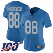 Wholesale Cheap Nike Lions #88 T.J. Hockenson Blue Throwback Women's Stitched NFL 100th Season Vapor Limited Jersey