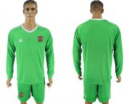 Wholesale Cheap Russia Blank Green Long Sleeves Goalkeeper Soccer Country Jersey