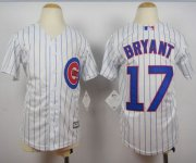 Wholesale Cheap Cubs #17 Kris Bryant White(Blue Strip) Cool Base Stitched Youth MLB Jersey
