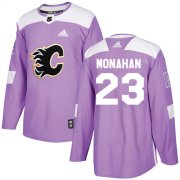 Wholesale Cheap Adidas Flames #23 Sean Monahan Purple Authentic Fights Cancer Stitched Youth NHL Jersey