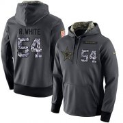 Wholesale Cheap NFL Men's Nike Dallas Cowboys #54 Randy White Stitched Black Anthracite Salute to Service Player Performance Hoodie