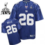 Wholesale Cheap Giants #26 Antrel Rolle Blue Super Bowl XLVI Embroidered NFL Jersey