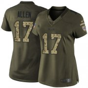 Wholesale Cheap Nike Bills #17 Josh Allen Green Women's Stitched NFL Limited 2015 Salute to Service Jersey