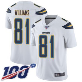 Wholesale Cheap Nike Chargers #81 Mike Williams White Men\'s Stitched NFL 100th Season Vapor Limited Jersey
