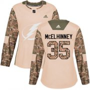 Cheap Adidas Lightning #35 Curtis McElhinney Camo Authentic 2017 Veterans Day Women's Stitched NHL Jersey