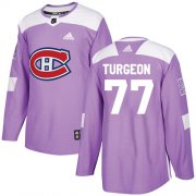 Wholesale Cheap Adidas Canadiens #77 Pierre Turgeon Purple Authentic Fights Cancer Stitched NHL Jersey