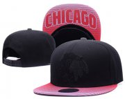 Wholesale Cheap NHL Chicago Blackhawks Team Logo Black Mitchell & Ness Adjustable Hat 06