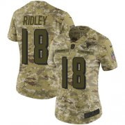Wholesale Cheap Nike Falcons #18 Calvin Ridley Camo Women's Stitched NFL Limited 2018 Salute to Service Jersey