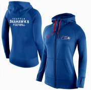 Wholesale Cheap Women's Nike Seattle Seahawks Full-Zip Performance Hoodie Blue