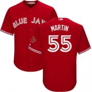 Wholesale Cheap Blue Jays #55 Russell Martin Red Cool Base Canada Day Stitched Youth MLB Jersey