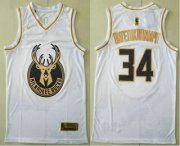 Wholesale Cheap Men's Milwaukee Bucks #34 Giannis Antetokounmpo White Golden Nike Swingman Stitched NBA Jersey