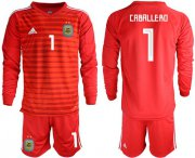 Wholesale Cheap Argentina #1 Caballero Red Long Sleeves Goalkeeper Soccer Country Jersey