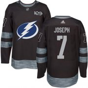 Cheap Adidas Lightning #7 Mathieu Joseph Black 1917-2017 100th Anniversary Stitched NHL Jersey