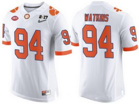 Wholesale Cheap Men\'s Clemson Tigers #94 Carlos Watkins White 2017 Championship Game Patch Stitched CFP Nike Limited Jersey