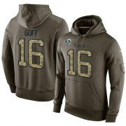 Wholesale Cheap NFL Men's Nike Los Angeles Rams #16 Jared Goff Stitched Green Olive Salute To Service KO Performance Hoodie