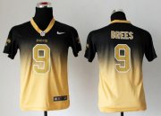 Wholesale Cheap Nike Saints #9 Drew Brees Black/Gold Youth Stitched NFL Elite Fadeaway Fashion Jersey