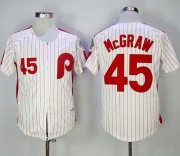 Wholesale Cheap Mitchell and Ness 1983 Phillies #45 Tug Mcgraw White Red Strip Stitched Throwback MLB Jersey