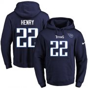 Wholesale Cheap Nike Titans #22 Derrick Henry Navy Blue Name & Number Pullover NFL Hoodie