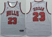 Wholesale Cheap Men's Chicago Bulls #23 Michael Jordan Revolution 30 Swingman 2014 New Gray Jersey