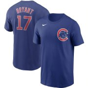 Wholesale Cheap Chicago Cubs #17 Kris Bryant Nike Name & Number T-Shirt Royal