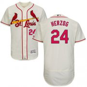 Wholesale Cheap Cardinals #24 Whitey Herzog Cream Flexbase Authentic Collection Stitched MLB Jersey