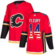 Wholesale Cheap Adidas Flames #14 Theoren Fleury Red Home Authentic USA Flag Stitched Youth NHL Jersey
