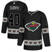 Wholesale Cheap Adidas Wild #40 Devan Dubnyk Black Authentic Team Logo Fashion Stitched NHL Jersey